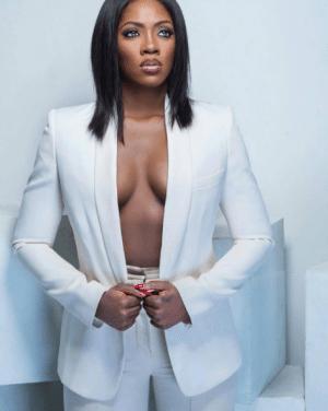 Tiwa Savage Erotic In White Suit
