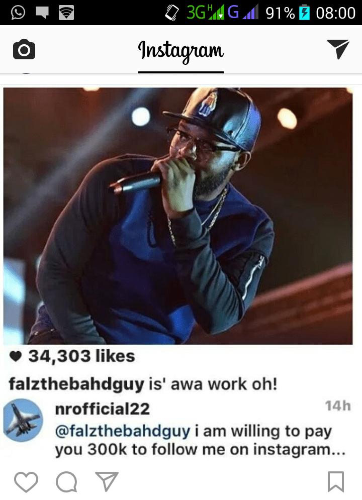 Fan To Pay Falz 300k To Follow Back On Instagram