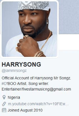 Harrysong Deletes Alter Plate Info From His Social Accounts