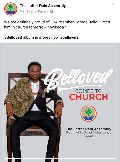 Church members angry after Korede Bello performed at Latter Rain Assembly