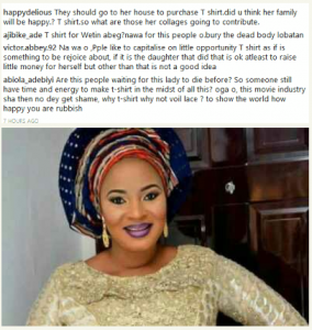 Nigerians slam burial committee for selling T shirts for Moji Olaiya's burial