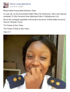 Outrage over 22-year-old lady who is Special Assistant to Edo Governor