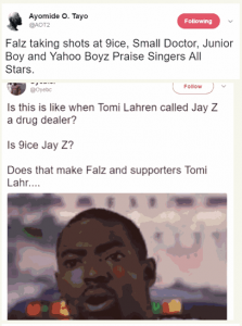 9ice, Twitter users attack Falz for saying musicians glorify fraudsters