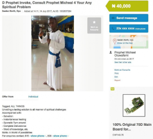Nigerian pastor advertises his church on OLX
