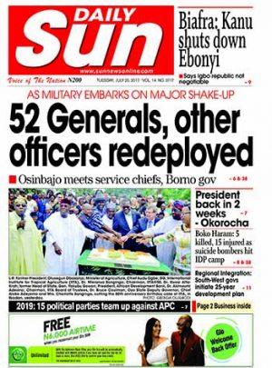 Naija.fm Newspaper Review – 25 July 2017