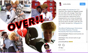 Yemi Alade allegedly ends romantic affair with manager