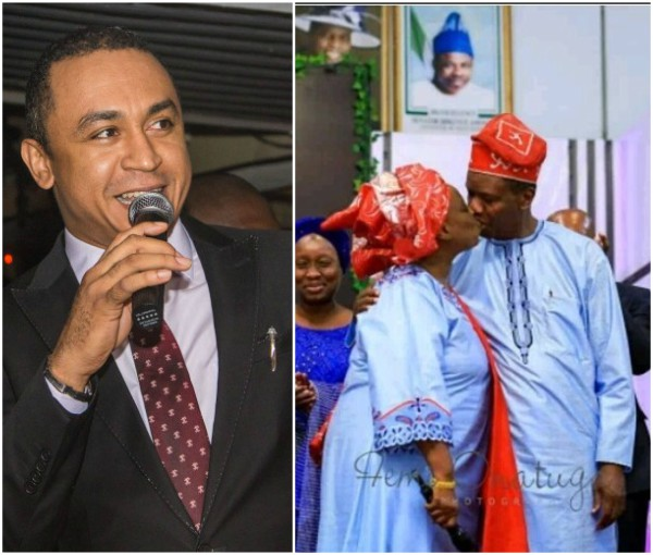 Daddy Freeze reacts to Pastor Adeboye kissing his wife