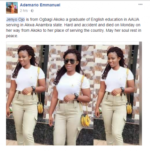 Sad tale of how female NYSC member died