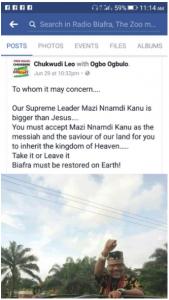 IPOB member declares Nnamdi Kanu
