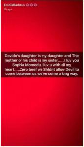 Eniola Badmus begs Davido's babymama