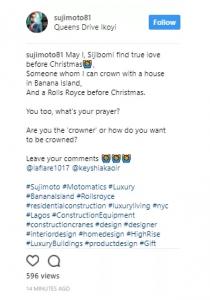 Nigerian billionaire Sujimoto