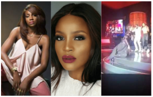 Seyi Shay reacts to falling