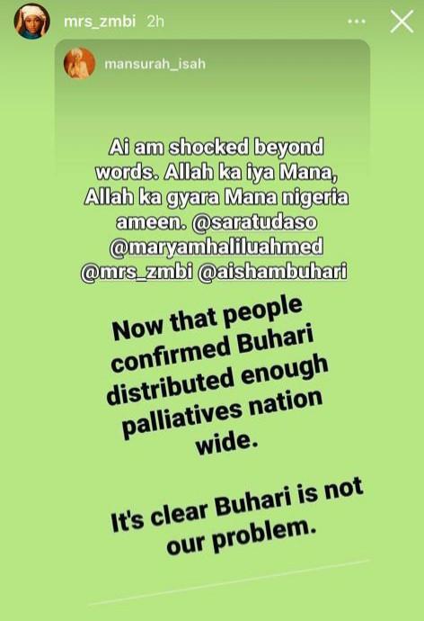 NAIJA.FM Zahra Buhari supports her Dad as more COVID-19 palliatives warehouse are uncovered