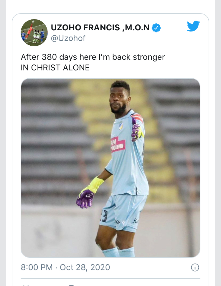 NAIJA.FM A Clean Sheet For Uzoho After 380 days On The Sideline