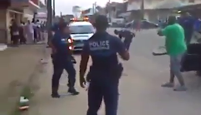 Insane Man Chases Police Officers With A Cutlass